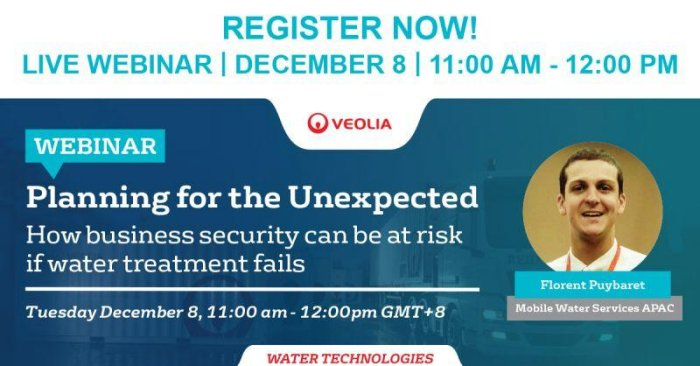 "Mobile Water Services: ""Planning for the Unexpected"" : how business security can be at fail if water treatment fails"