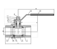 DIN 3202 1 Piece Internal Threaded Ball Valve