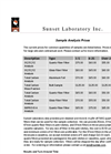 Sunset Lab Analysis Prices Brochure