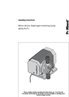 Alpha ALPc- Motor Diaphragm Metering Pump - Operating Instructions Manual