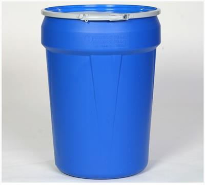 Eagle - Model 1601MB - Open Head Poly Drum, 30 Gal. Blue with Metal Lever-Lock Ring