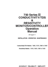 750 Series II - Conductivity/TDS & Resistivity Monitor/Controller Operation Manual