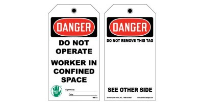 Model TAG 112 - Confined Space Tags