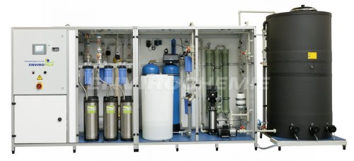 EnviroFALK pure water recirculation system consisting of pre-filtration, softening and reverse osmosis for medical technology