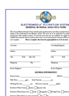 Electromedia Filtration Systems - General Mineral Analysis Form