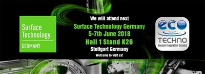 VISIT US AT SURFACE TECHNOLOGY: 5-7 JUNE 2018 STUTTGART