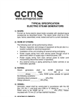 Acme - Electric Steam Generators - Specifications