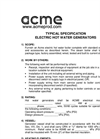 Electric Hot Water Generators - Specifications