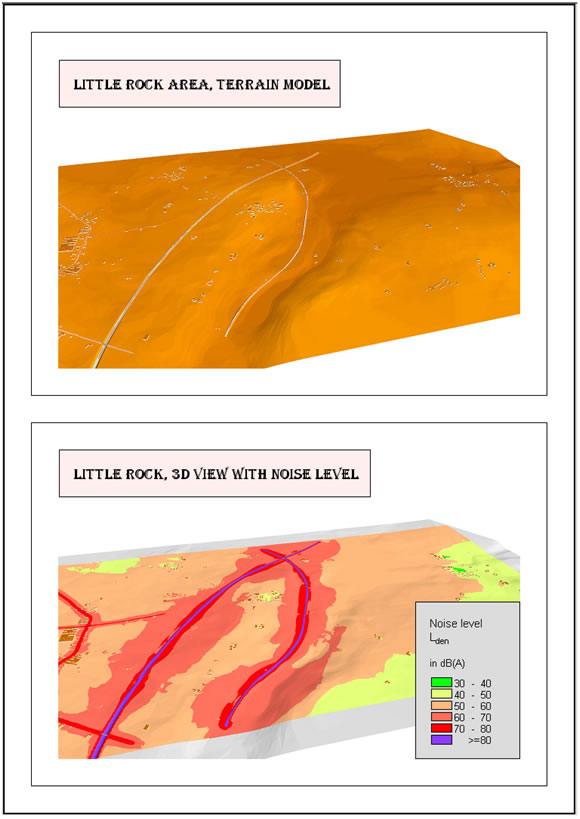Terrain model in colours and (beneath) with noise contours, both on the same sheet