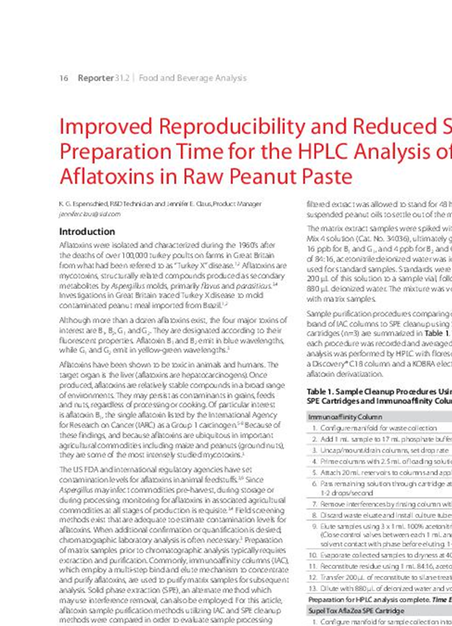 Improved Reproducibility and Reduced Sample Preparation Time for the HPLC Analysis of Aflatoxins in Raw Peanut Paste