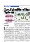 Specifying Microfiltration Systems