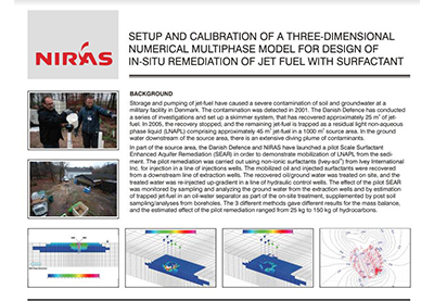 CASE STUDY - Setup and calibration of a three-dimensional numerical multiphase model for design of in-situ remediation of jet fuel with surfactant
