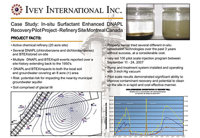 CASE STUDY - In-situ Surfactant Enhanced DNAPL Recovery Pilot Project - Refinery Site Montreal Canada