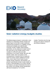 Instruments and analyzers for solar radiation energy budgets studies - Brochure