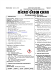 Micro - Model Green Clean - Biodegradable Cleaner - Safety Data Sheets (SDS)