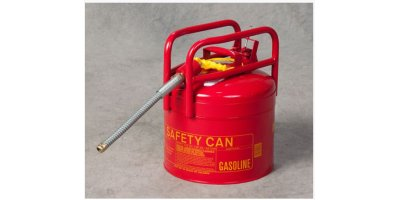 EAGLE - Model D.O.T. Type II 1215-SX5 - Safety Can, 5 Gal. Red, Galvanized Steel w/5/8 Flexible Hose