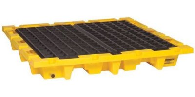 EAGLE - Model 1646 - 4 Drum Nestable Containment Pallet - Yellow with Drain