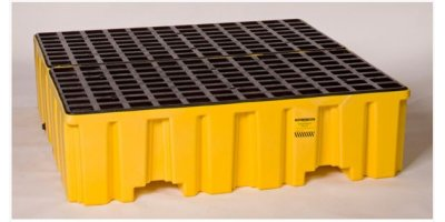 EAGLE - Model 1640 - 4 Drum Containment Pallet - Yellow with Drain