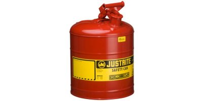 Justrite - Model 7150100 - Type I Steel Safety Can for Flammables, 5 Gallon (19L), S/S Flame Arrester, Self-Close Lid