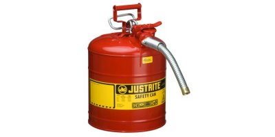 Justrite AccuFlow - Model 7250130 - Type II Steel Safety Can for Flammables 5 Gallon (Red with 1 Metal Hose)