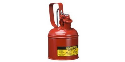JUSTRITE - Model 10101 - Type I Steel Safety Can With Trigger Handle for Flammables, 1 Quart (1L), S/S Flame Arrester, Self-Close Lid