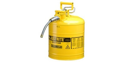 Justrite AccuFlow - Model 7250220 - Type II  Steel Safety Can for Flammables 5 Gallon (Yellow with 5/8 Hose)