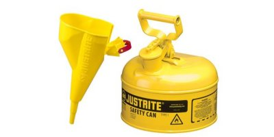 JUSTRITE - Model 7110210 - Type I Steel Safety Can for Flammables 1 Gallon (Yellow with Funnel)