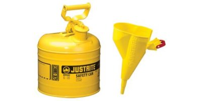 JUSTRITE - Model 7120210 - Type I Steel Safety Can for Flammables 2 Gallon (Yellow with Funnel)