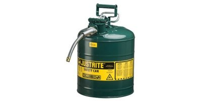 Justrite AccuFlow - Model 7250420 - Type II  Steel Safety Can for Flammables 5 Gallon (Green with 5/8 Hose)