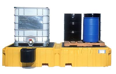 Model 1146 - Ultra Twin IBC Spill Pallet with left side bucket shelf - with Drain