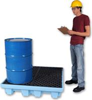 Model 1233 - Ultra-Spill Pallet P4 Fluorinated - 4 Drum - No Drain