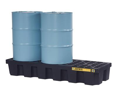Justrite EcoPolyBlend™ - Model 28629 - Spill Pallet 3-Drum Black - With Drain