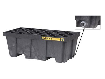 Justrite EcoPolyBlend™ - Model 28625 - 2 Drum Black Spill Pallet With Drain