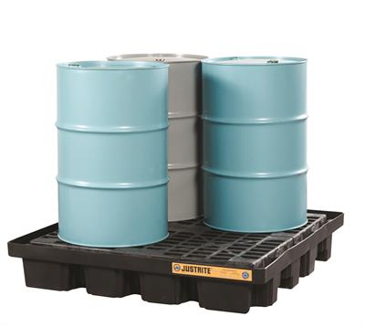 Justrite EcoPolyBlend™ - Model 28673 - Black Spill Pallet - 4 Drum