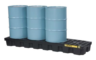 Justrite EcoPolyBlend™ - Model 28631 - Spill Pallet 4-Drum In-Line Black