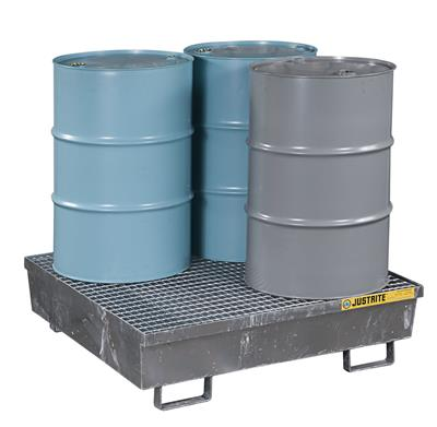 Justrite - Model 28615 - Spill Pallet 4 Drum Square Galvanized Steel