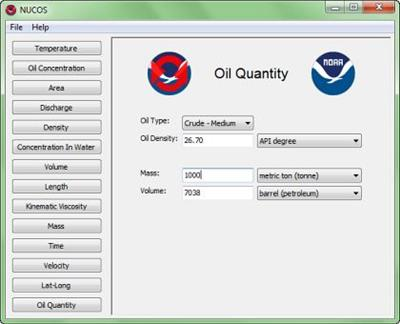NOAA - Version NUCOS - Unit Converter for Spill Responders