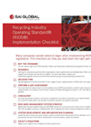 Recycling Industry Operating Standard (Rios) Implementation Checklist