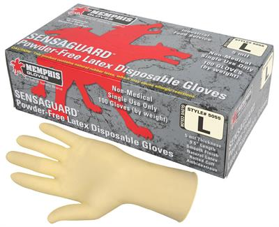 MCR SensaGuard™ - Model 5055SMG - Disposable Latex Gloves, Powder Free, 5 mil, S