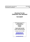 Model TOC1500HP - Total Organic Carbon Generator Directions - User Manual
