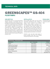 GREENSCAPES GS-404 Filter Fabric - Technical Data Sheets