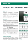 HIGH TC GEOTHERMAL GROUT Enhanced Thermally Conductive Grout - Technical Data Sheets