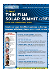 2nd Annual Thin Film Solar Summit Europe Brochure (PDF 2.35 MB)