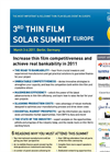 3rd Thin Film Summit Europe, Berlin, 3-4 March, 2011