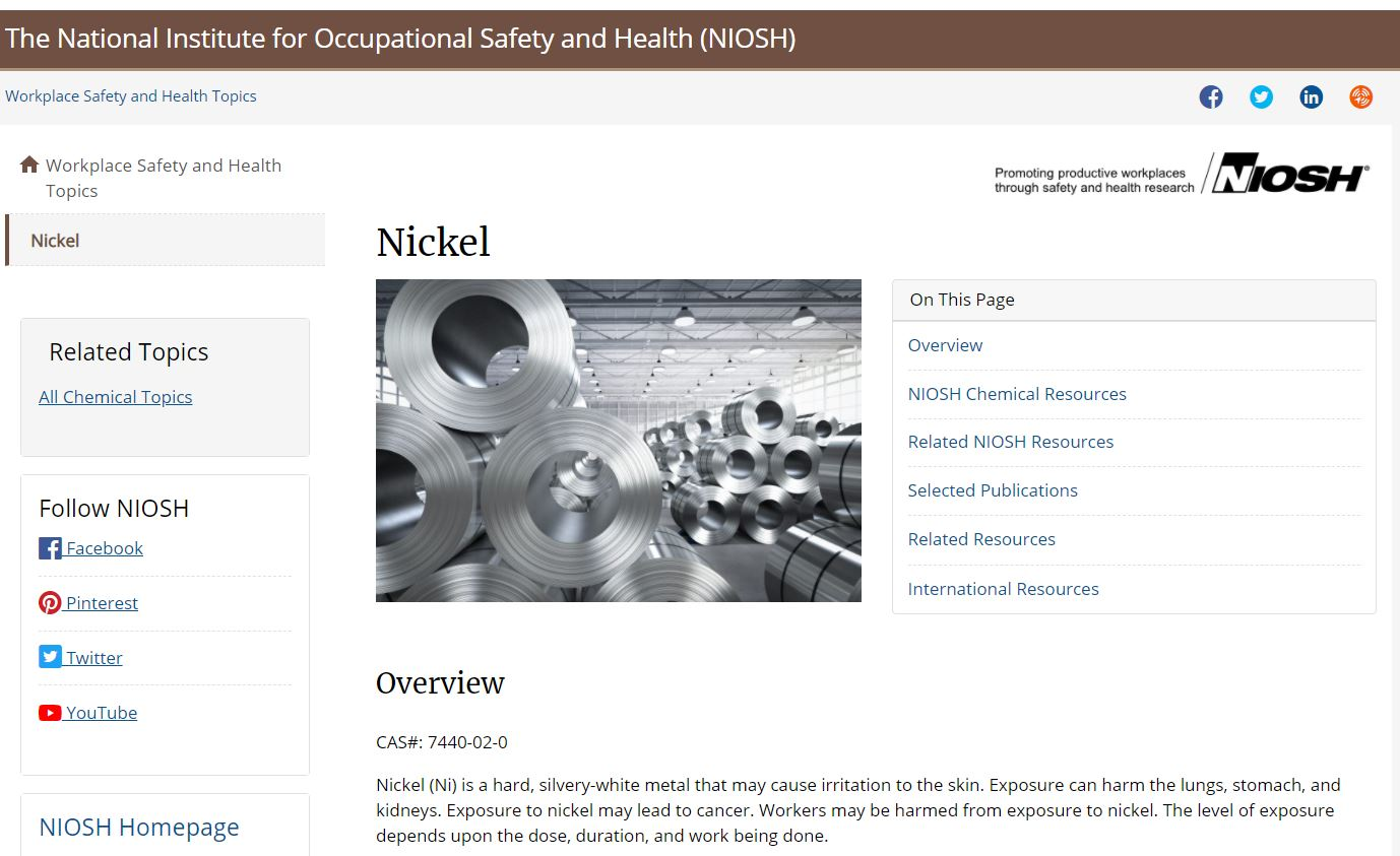 Occupational Exposure Risks to Nickel and Nickel Compounds in Puerto Rico-1