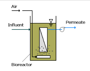 The immersed membrane bioreactor configuration