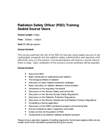 Radiation Safety Officer (RSO) Training - Brochure