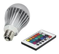 Larson Electronics - Model LED-A19-12W-E26-RGB 12 Watt RGB LED A19 - Remote Control Light - Dimmable - Color Changing Bulb - Standard E26 Base