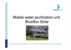 Bluebox - Model 1800 UF SOLAR - Solar Powered Water Purification System Brochure