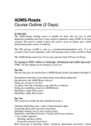 ADMS-Roads - Standard Courses - Outline